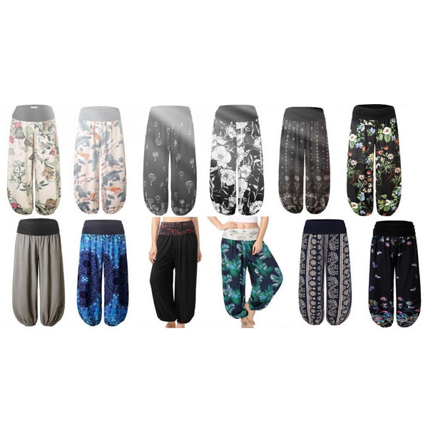 Fashion printing street hipster European and American women's wide-leg casual trousers yoga pants-LA