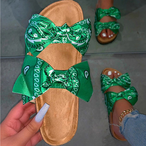 Bowknot satin fish and insect slippers