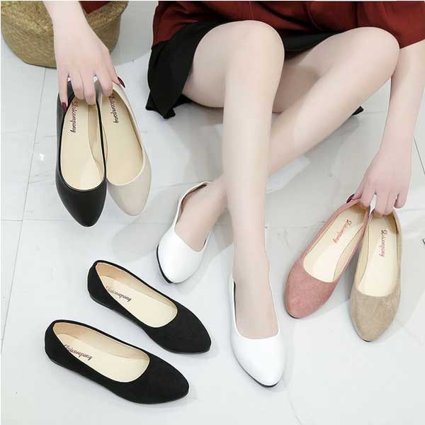 New style flat shallow mouth women's shoes Korean version of all-match flat heel suede