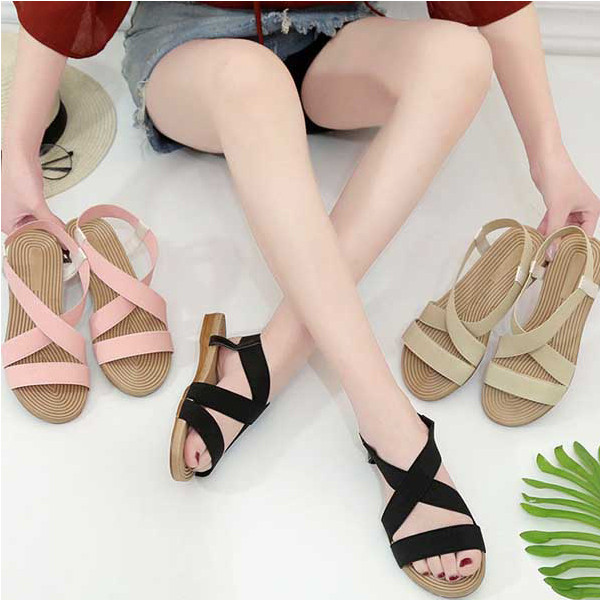 New Fashion Casual All-match Women's Sandals Low Heel Round Toe Low Top Women's Shoes