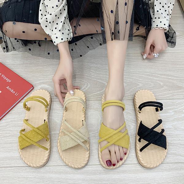 Summer net red linen women's slippers, flat-bottom beach slippers