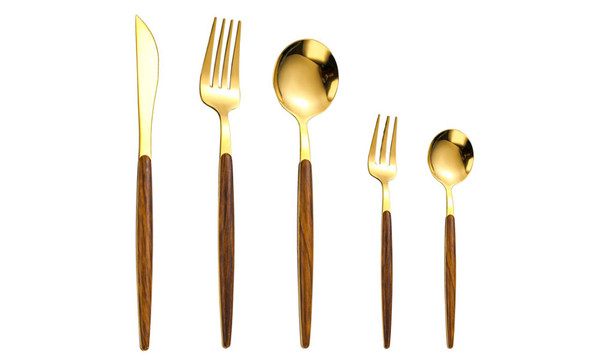 430 Stainless Steel Silver/Gold Western Knife Five Piece Set of Imitation Wood Tableware