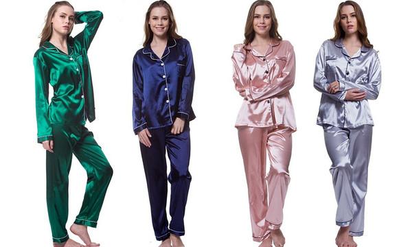 Long Sleeve Satin Pyjamas Set