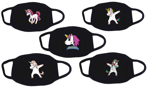 5 PCS Personality Cartoon Unicorn Pattern,Mysterious black Funny stylish Breathable,Washable Cotton-la