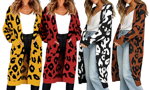 Casual Knitted Leopard Print Cardigan