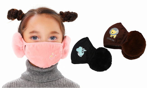Children Winter Warm Plush Earmuffs and mask