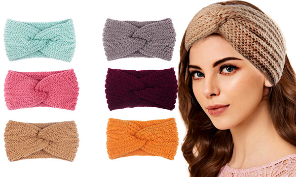 Women Crochet Cross Knot Headband Winter Knitted Head Wrap