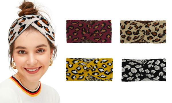 Lepoard Print Women CrochetHeadband Winter Knitted Head Wrap