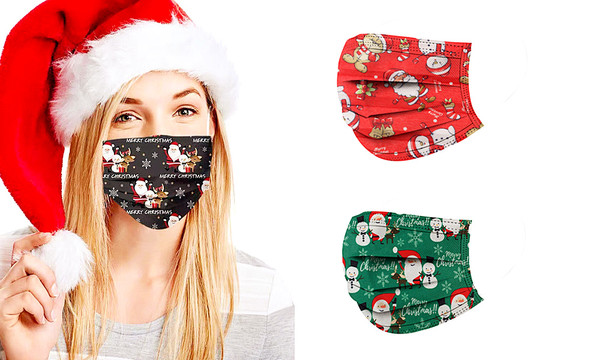 New 2020 3ply Christmas themed festival disposal mask pack of 10