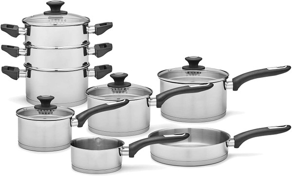 Morphy Richards 979024 Equip 8 Piece Pan Set with Bakelite Handles, Tempered Glass Lids, Stainless Steel