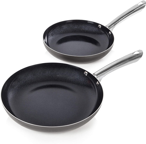 Morphy Richards Accents Induction Frying Pan Set, Aluminium with Non Stick Ceramic Coating, Easy to Clean, Titanium/Black, 2 Piece, 24/28 cm