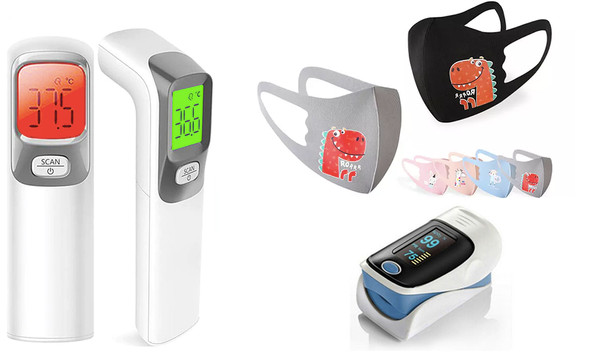 Thermometer, oximeter and kid's mask bundle