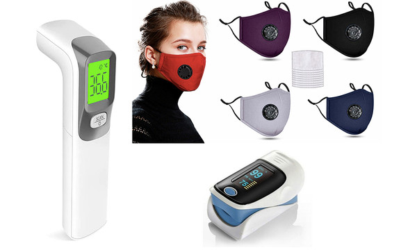 Thermometer, oximeter and 10 filtered mask bundle