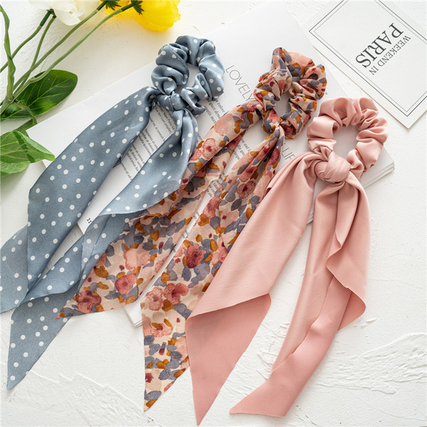 Pack of 2 Mix design Long Scarf Scunchies