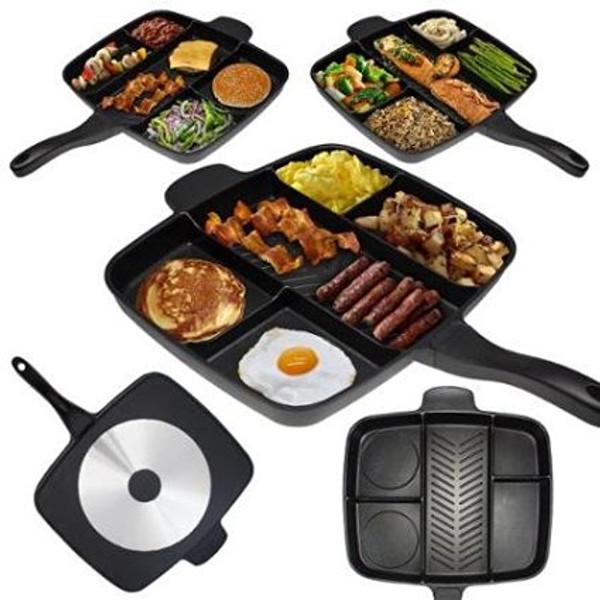 Non-Stick Divided Meal Skillet Grill Fry Oven Dishwasher Safe