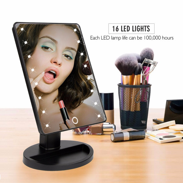 Makeup Mirrors Vanity Illuminated Stand Comestic Mirror Lighted 16 LED Lights