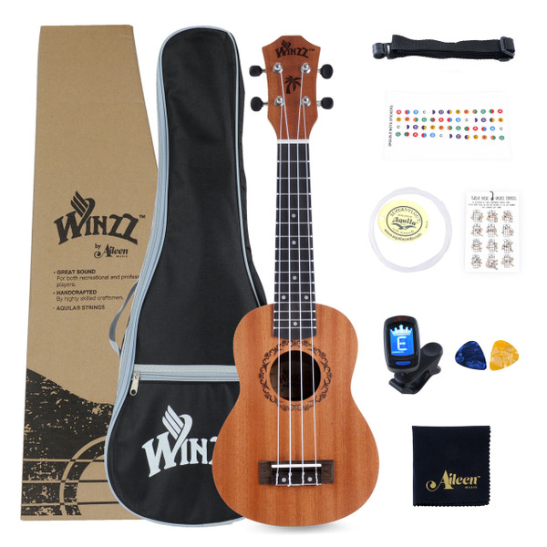 Winzz Mahogany Concert Ukulele Starter Kit 23 Inch Aquila Strings For Beginners with Bag, Clip-On Tuner, Extra Strings, Strap, Plectrum, Fret Stickers, Chords Card, Polishing Cloth, Satin