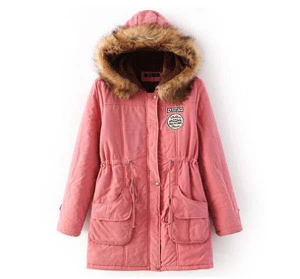 Pink Womens Luxurious Fur Lined Parka Coat