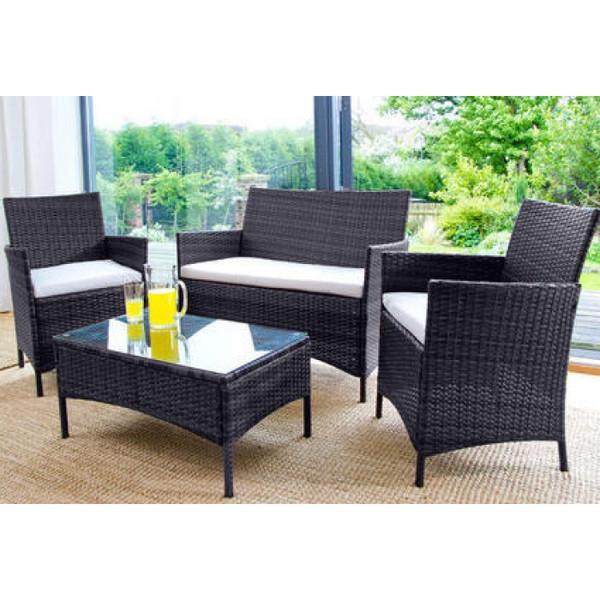 4PC Rattan Garden Furniture Set - Black