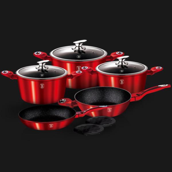 10 pcs cookware set, Burgundy Metallic Line