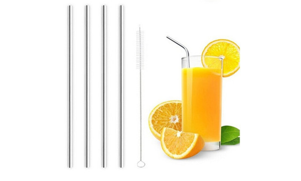 Silver Stainless Steel Drinking Straws, Bent or Straight, with Brush Pack of 4