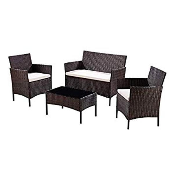 4 Piece Rattan Outdoor Furniture