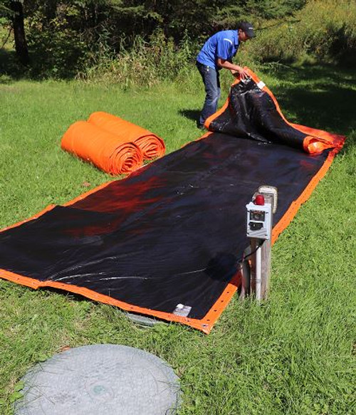Placing the blanket black side up will absorb the sun's heat.