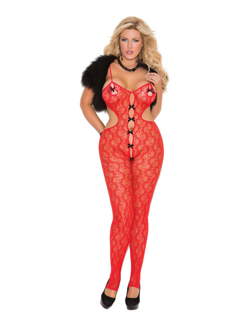 Plus Size Womens Lace Open Crotch Satin Bow Bodystocking Bodysuit Lingerie
