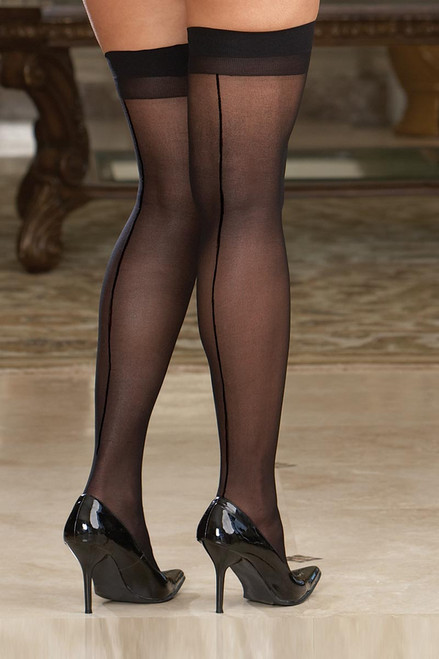 Plus Size Hosiery Lingerie Sheer Back Seam Thigh High Stocking
