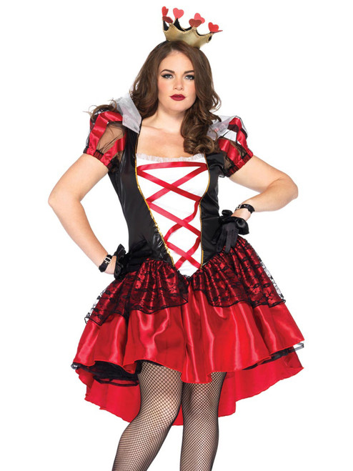 Womens Plus Size Full Figure Royal Red Queen Wonderland Costume Front View