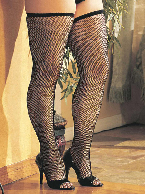 Plus Size Fishnet Thigh High Stockings
