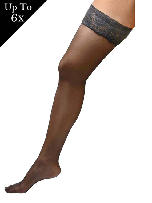 Women Plus Size Hosiery Black Sheer Lace Top Stay Up Silicone Thigh High Stockings