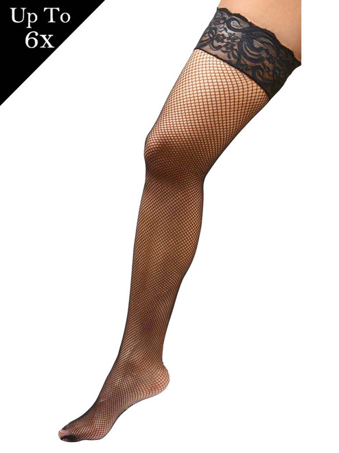 Angelique Women's Plus Size Hosiery Black Fishnet Lace Top Stay Up Silicone Thigh High Stockings