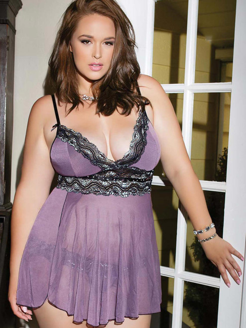 Womens Plus Size Mesh and Metallic Lace Babydoll Lingerie Top