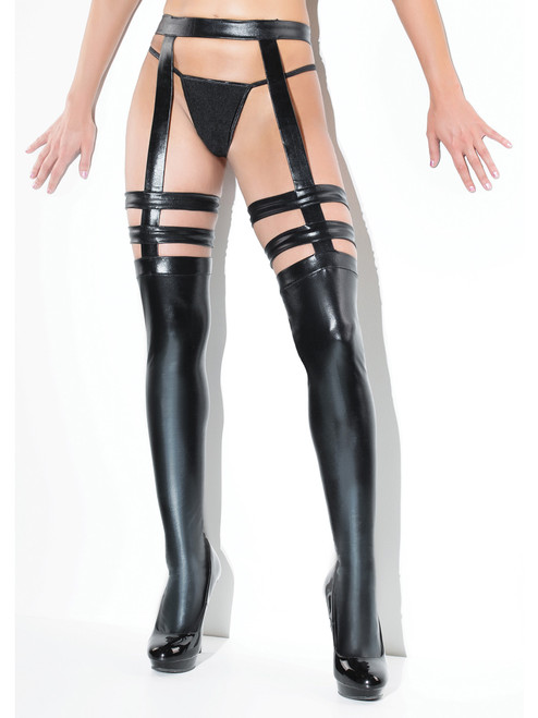 Plus Size Wet Look Black Strappy Stockings Attached Garterbelt