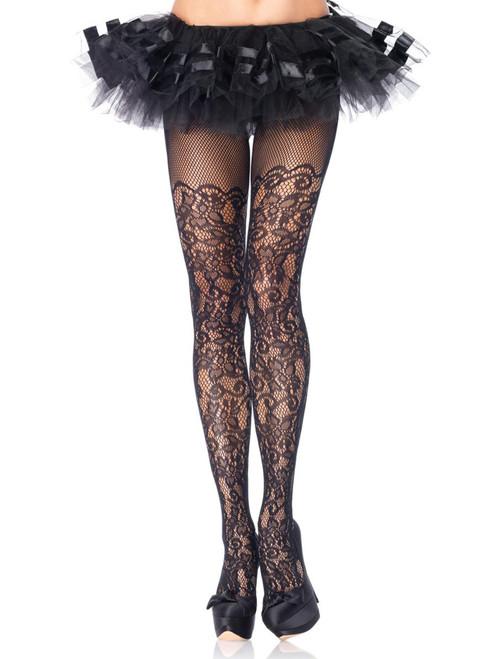 Plus Size Floral Lace Net Black Fishnet Pantyhose Hosiery Tights