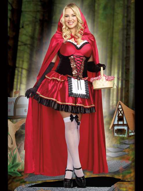 Womens Plus Size Costume Little Red Riding Hood Dress Roleplay Front View