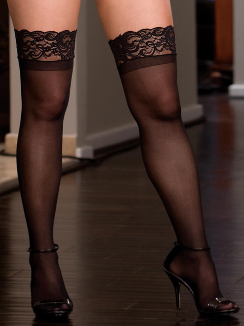 Lace Top Sheer Thigh High Stocking