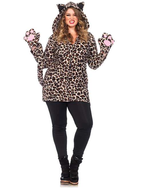 Womens Plus Size Cozy Leopard Cat Fleece Dress Warm Halloween Costume