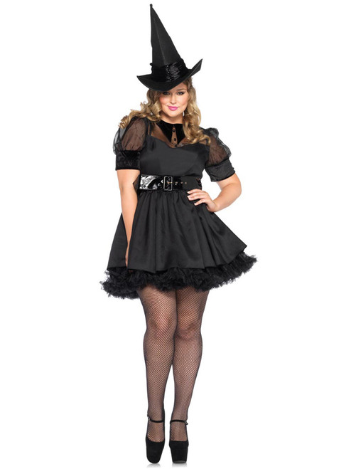 Womens Plus Size Full Figure Vintage Bewitching Velvet Witch Costume