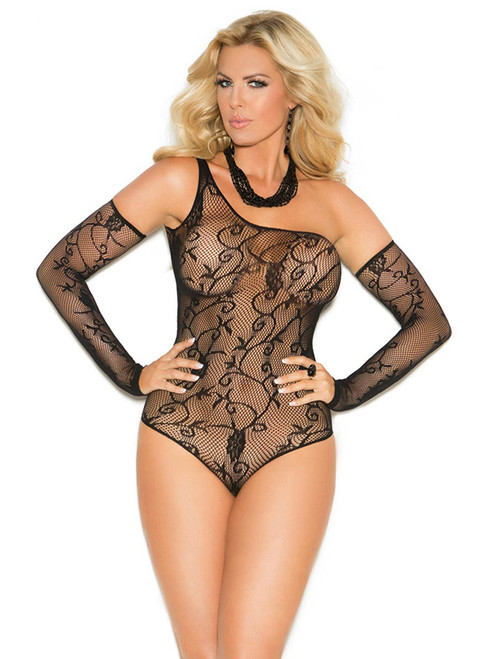 Full Figure BBW One Shoulder Fishnet Teddy Bodysuit Lingerie