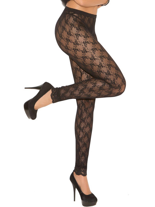 Black Lace Leggings Footless Tights Front View