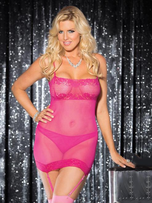 Women Full Figure Plus Size Lace Gartered Chemise Slip Lingerie