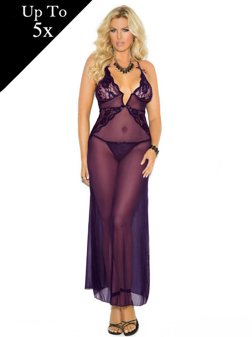 Womens Plus Size Deep V Sheer Mesh Criss Cross Adjustable Gown Lingerie