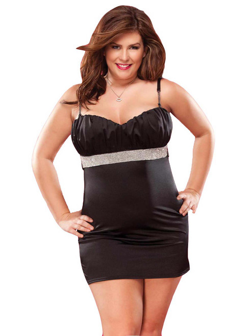 Womens Plus Size Full Figure Lingerie Rhinestone Trim Dress
