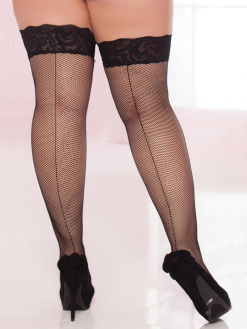 Womens Plus Size Fishnet Lace Top Back Seam Thigh High Stockings
