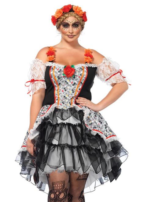 Womens Plus Size Full Figure Sugar Skull Day of The Dead Senorita Spanish Costume