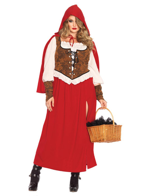 Womens Plus Size Woodland Little Red Riding Hood Storybook Roleplay Costume