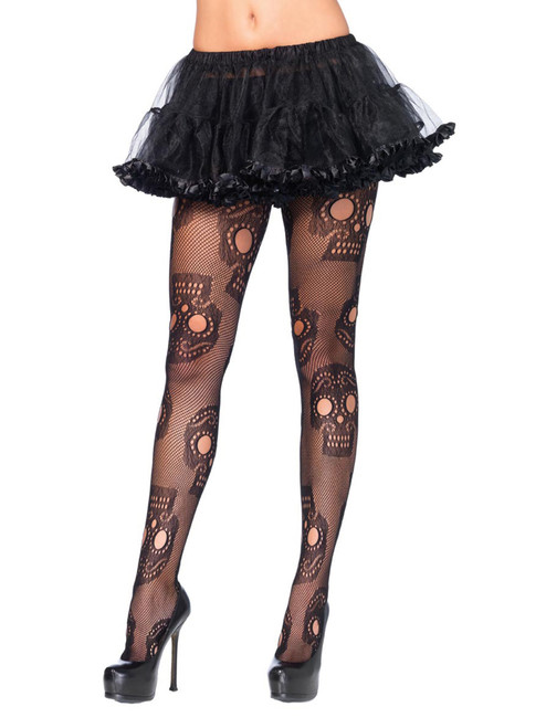 Womens Plus Size Day of The Dead Sugar Skull Fishnet Pantyhose Hosiery Costume Tights
