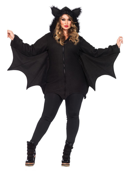 Womens Plus Size Full Figure Cozy Fleece Bat Warm Halloween Costume